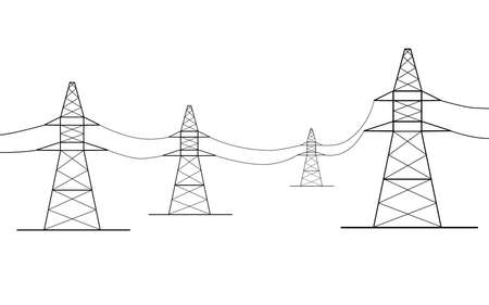 amperage: four power lines isolated from the background