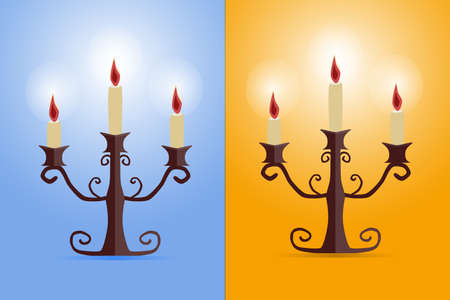 lighted: two candlesticks Victorian lighted Illustration
