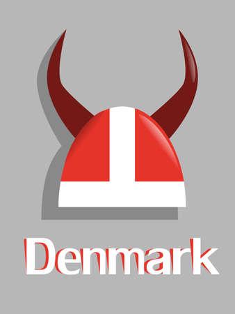 casco rojo: casco rojo de Viking Dinamarca del Vectores