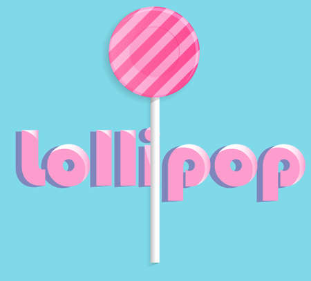 licking in isolated: Pink lollipop.