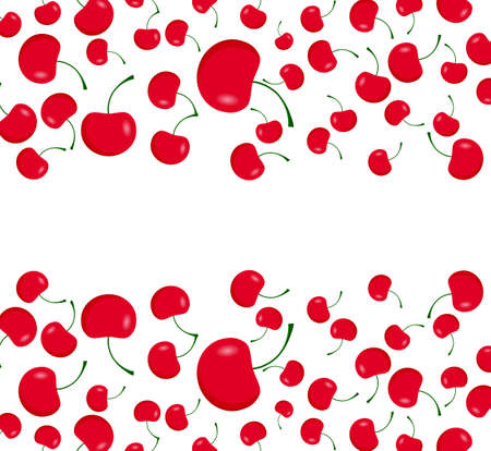 dieting: Red cherries on the white background