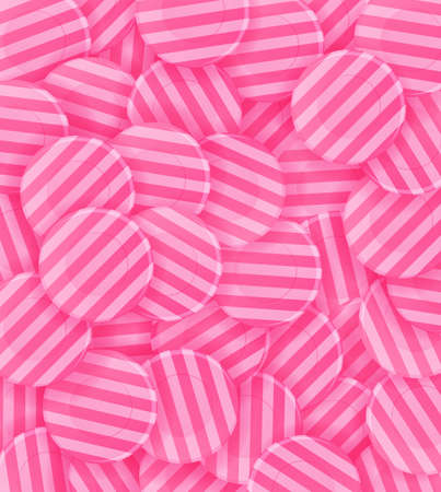 lots: lots of pink candies. Background. Illustration