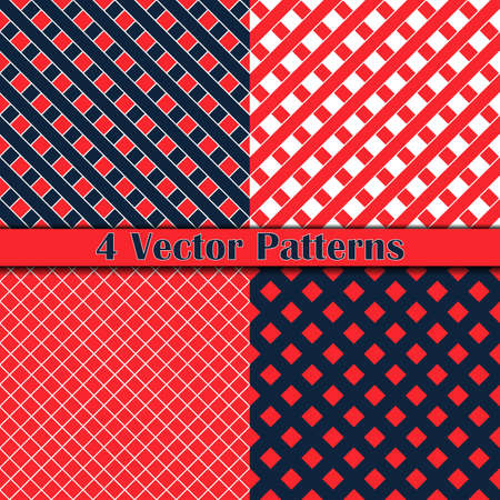 four pattern: four pattern romb and square red and dark blue color