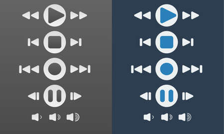 media player: Media player buttons blue color collection vector design elements on dark background