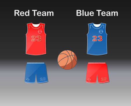 v neck: Sports series. Team basketball uniform and ball