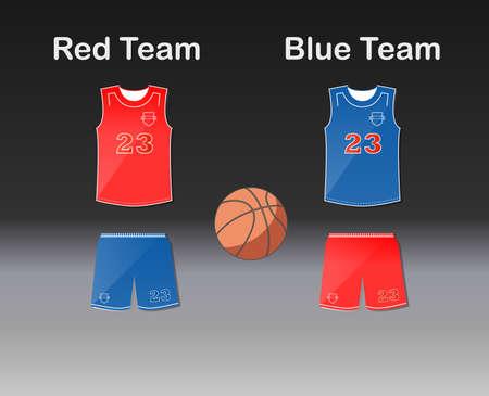 catoon: Sports series. Team basketball uniform and ball
