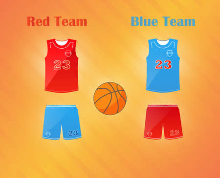 v neck: Sports series. Team basketball catoon uniform and ball