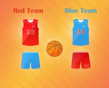 Sports series. Team basketball catoon uniform and ball