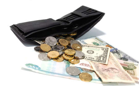 running out of money in your wallet, change and small bills that were left in your wallet