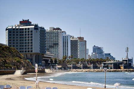Tel-Aviv, the view on a hotels on the sea coast. Sajtókép