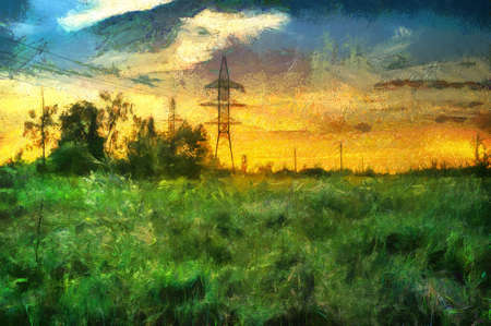 oil painting sunset in a field in the countryside