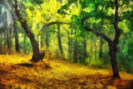 Pintura al óleo original de un bosque de la tarde Foto de archivo - 73553158