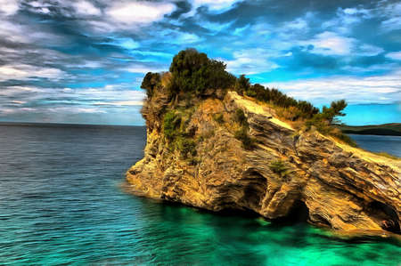 oil painting of a cliff in the emerald sea Stock Photo
