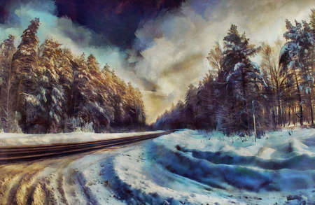 noon: oil painting road through a winter forest Stock Photo