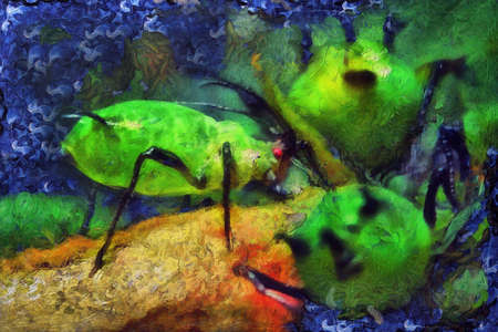 domicile: oil painting aphids on a leaf