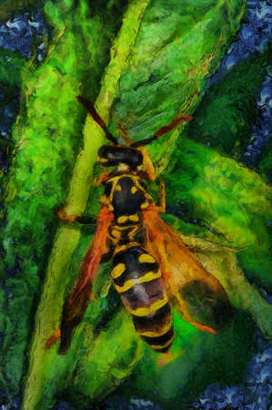 oil painting a bee on a flower Stock Photo