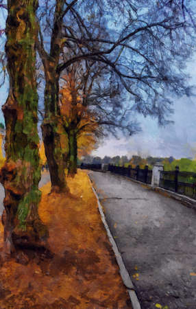Oil painting. Autumn road in the Park. Stock Photo