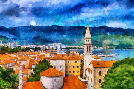 oil painting beautiful sea views in the coastal town