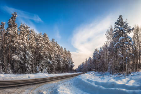 Road through snowy forest. Russia, Near Murom. Reklamní fotografie - 133967604