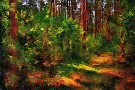 Beautiful painting. Pine forest on a Sunny summer day. meadow. 写真素材