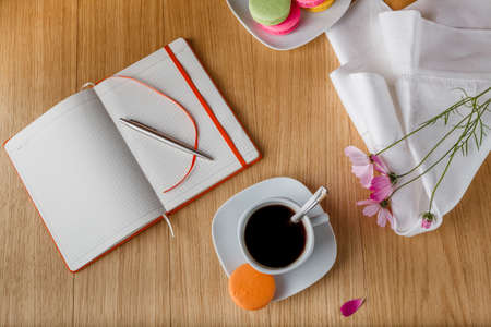 open diary: breakfast with coffee and open diary