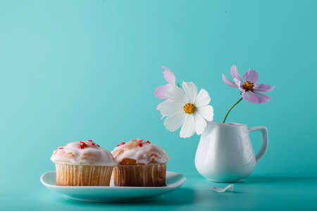 colorific: Colorful muffin on saucer with flower. Aqua color background Stock Photo
