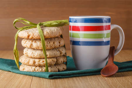 bounded: Oat cookies bounded on wood table
