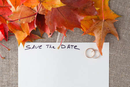 bagging: Wedding card - save the date with two golden ring