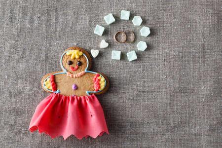 mariage: Wedding idea. Gingerbread girl with wedding dream Stock Photo