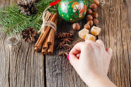 punch spice: Female hand puts christmas spices, chinnamon, anise