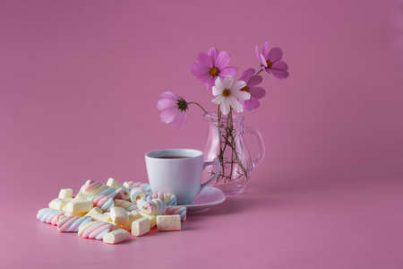 confections: Morning tea cup with colored confections