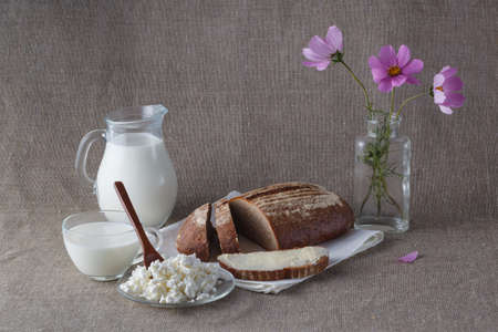 cottage cheese: Bread with milk and cottage cheese, flowers