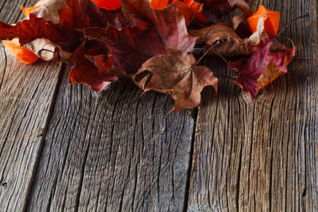october: Fall leaves on rustic wooden background