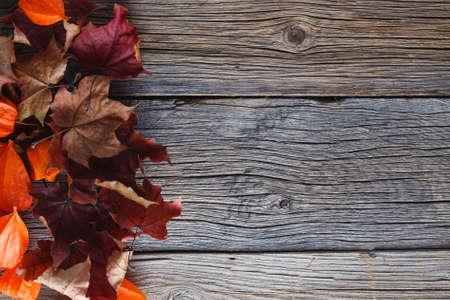 hojas antiguas: Hojas de la caída en el fondo de madera rústica Foto de archivo