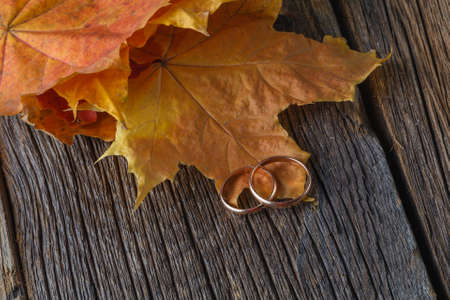 fall wedding decoration with two rings Stock Photo
