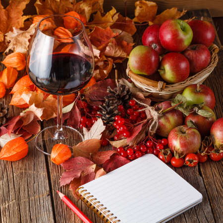 substrate: Fall wine with harvesting on rustic wooden background