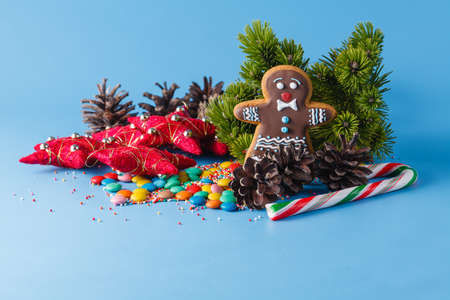 xmass: Xmas decoration. Pine and gingerbread man on blue background