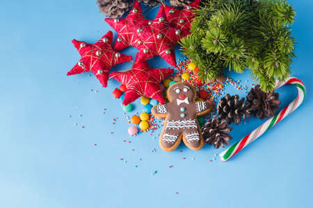 xmas background: Xmas decoration. Pine and gingerbread man on blue background