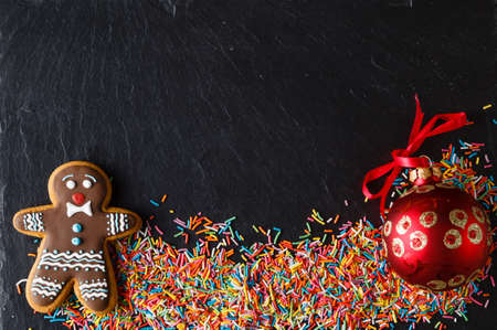 gingerbread man: New year invitation card with gingerbread man
