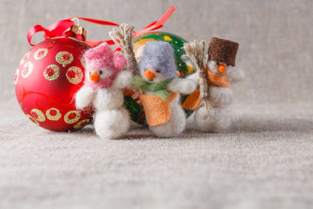 felt: Handmade felt snowmans with christmans balls