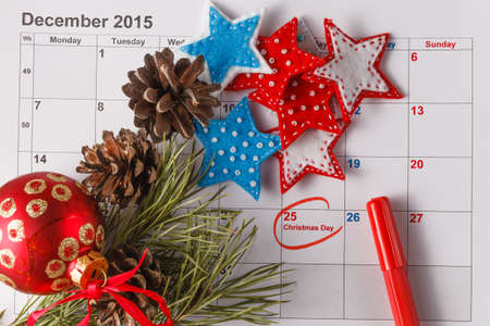 highlighting: Coming xmas day. Highlighting christmas date on calendar Stock Photo
