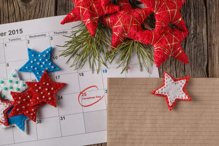 Ready to coming christmas. Calendar with marked date of christmas day Stock Photo