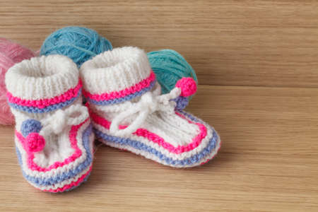 booties: Newborn booties for christening or birthday invitation announcement