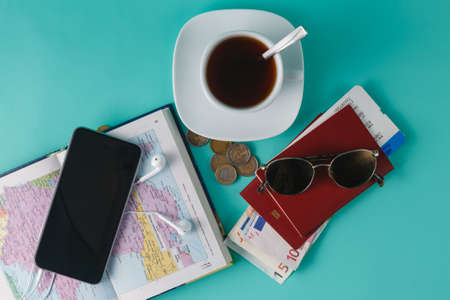 overseas visa: Travel planing for couple. Open map with passport an money Stock Photo