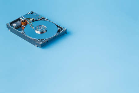 data loss: Data loss prevention. Open HDD aon plain background with copy space