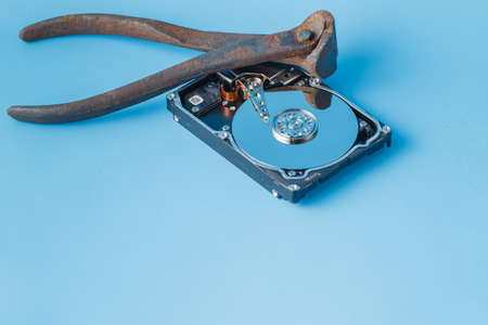 disclose: Data repair funny concept. Tools for repair HDD with open disk
