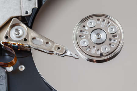 microscopical: Spindle and plate open HDD. Macro view