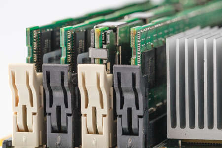 dimm: high performance server memory cartridge moudules. Closeup view Stock Photo
