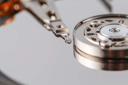 electronical: Spindle and plate open HDD. Macro view