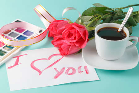 love symbols: Letter with love note, red rose with hearts